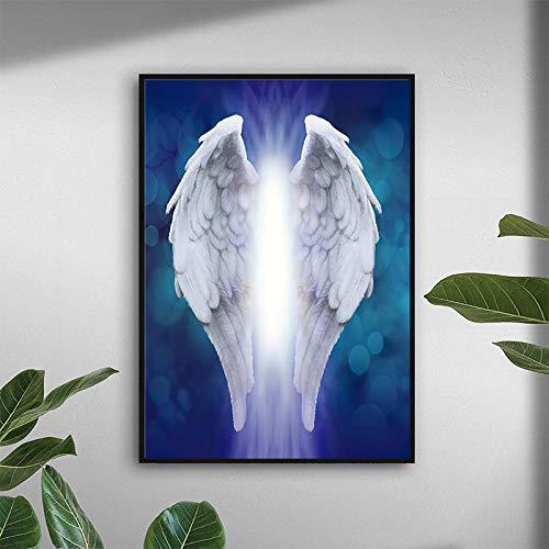 QZROOM Hermoso Fondo Azul con póster de alas de ángel Cuadro Decorativo Pinturas de Arte de Pared Modernas para la decoración del hogar de la Sala de Estar | 50x70cm | Sin Marco