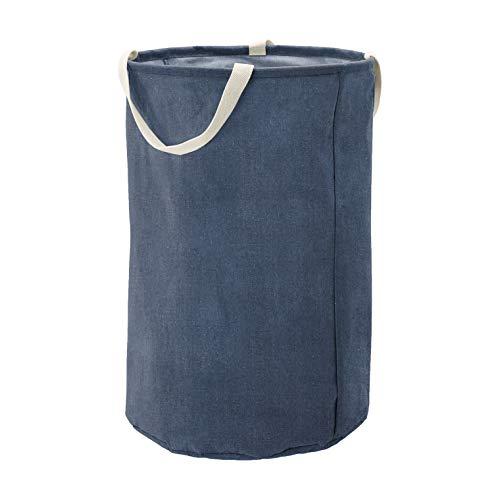 Amazon Basics - Contenitore portaoggetti in tessuto, alto, rotondo, blue navy