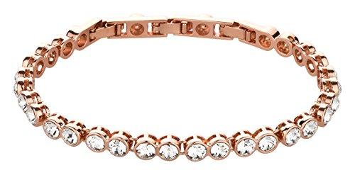 Elli Olsen Original Armband XS - XXL rosé Gold mit Swarovski Elements | Armkette Schmuck Armband Damen Armkettchen Tennisarmband Armschmuck Tennis Bracelet Hochzeitsschmuck (Rose-vergoldet)