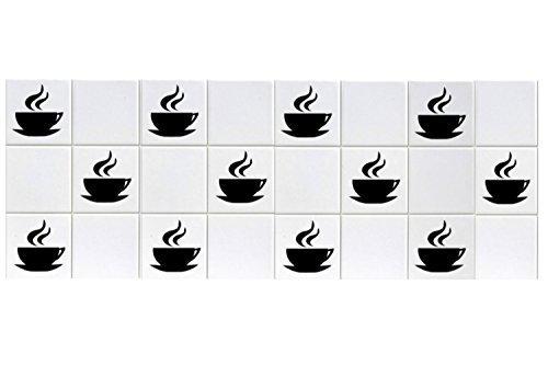 PRO CUT GRAPHICS, PCG003/12 - 12 adesivi per piastrelle da 15,24 cm a forma di tazza di caffè, in vinile adesivo, per ufficio, casa, hotel, bar