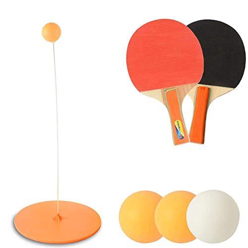 Qinsir Entrenador Tenis Mesa,con Varilla Elástica De Eje Blando Elástico, Deporte De Descompresión De 94CM Cm, Juego De 2 Palas De Tenis De Mesa Y 3 Juegos De Pelota De Ping-Pong