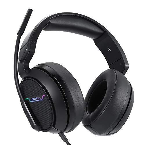 Auriculares Gaming PS4, Cascos Gaming Profesional con Flexible Cancelación de Ruido, Sonido Envolvente y Controladores Duales de 50 mm, Auriculares con Microfono para PC Nintendo Switch Xbox one Gamer