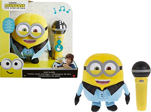 Mattel ?Minions Duet Buddy Singing Disco Bob 8-in / 20.32-cm Character Plush That Sings Celebration by Kool & The Gang for Kids 4 Years & Older