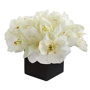 Nearly Natural 9in. Amaryllis Artificial Black Vase Silk Arrangements, White