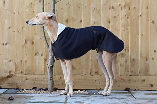 Abrigo impermeable con forro polar negro, con correa de clip ajustable a juego, galgo italiano/sighthound (XXLARGE 78,7 cm)