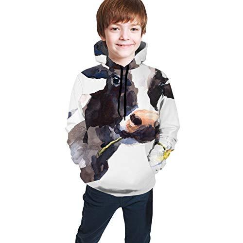 MZZhuBao Teen Hoodie Jacket Sweatshirt Comfortable Pullover Boys Girls Affany Watercolor Cow