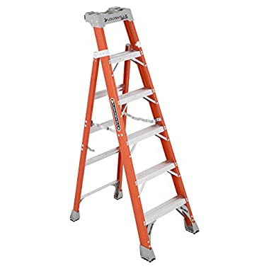 Louisville Ladder 6-Foot Fiberglass Step/Shelf Ladder, 300-Pound Capacity, Type IA, FXS1506
