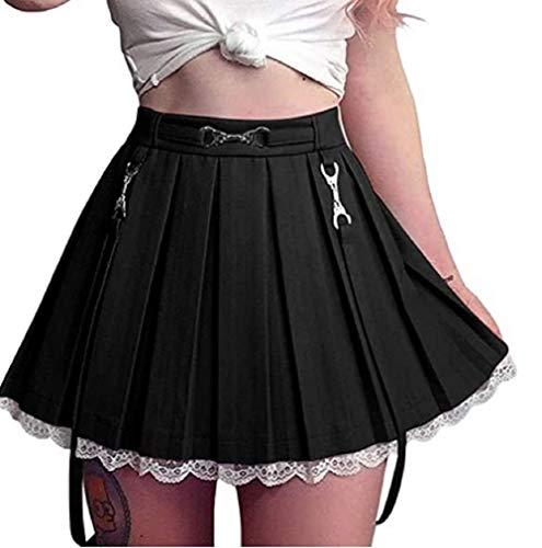 Damen Y2k Minirock Harajuku Goth Punkrock Gürteltasche A-Linie Gothic Plissee Miniröcke Hoch taillierter Plaid Skater (z9, S)