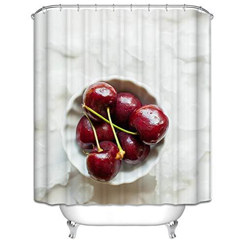 MaxAst Badvorhang Bunt Duschvorhang Obst Kirsche Duschvorhang Badewanne Waschbar Duschvorhang Polyester Duschvorhang 150x200 cm