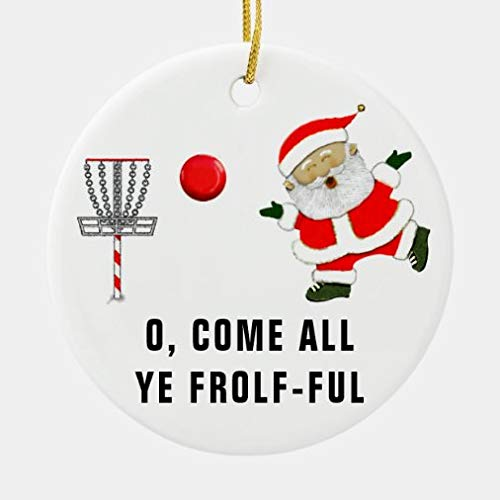 onepicebest Christmas Ornaments Disc Golf Collectible Ceramic Round Shape Ornament Xmas Gifts Presents, Holiday Tree Decoration Stocking Stuffer Gift