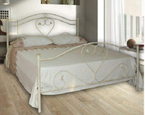 Letto Matrimoniale, Ferro BATTUTO, Modello Cuore, 100% Made in Italy (Avorio Sfumature Oro)