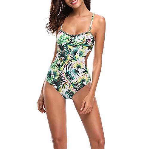 Eendelige zwemkleding Zwemkleding Vrouwen One Piece Swimsuit lage borst Spoon Neck Floral Backless Swimsuit Girl Summer Beach Swimsuit Vest Beachwear Feestvakantie (Color : White, Size : M)