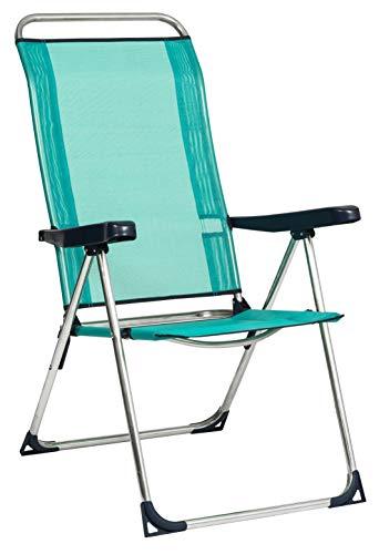 Alco 470ALF-0030 Tumbona fibreline, Pata Cerrada, Aluminio, Azul Verdoso, 97.5x65x11.5 cm