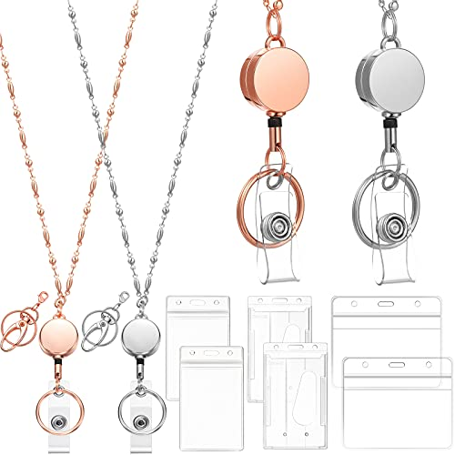 2 Pieces Retractable Badge Reel Lanyard with 9 Pieces ID Holders Stainless Steel Necklace Lanyard Beaded Badge Clip Chain Water Resistant Holders for Girl Women