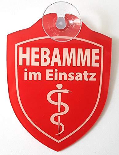Schilder Einsatzschild für die Windschutzscheibe incl. Saugnapf Hebamme IM Einsatz (WappenHebamme)