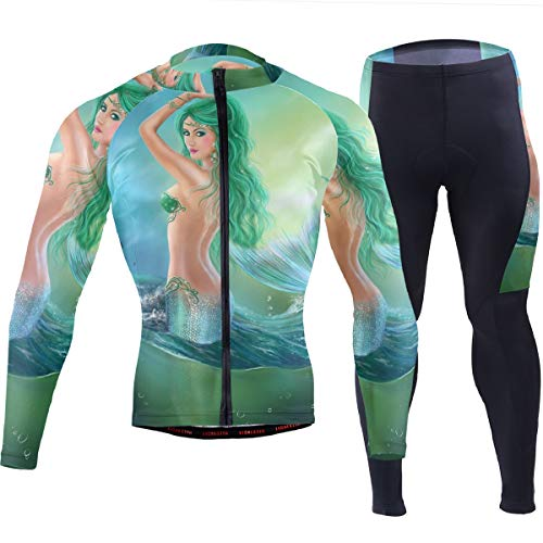 SLHFPX Mens Cycling Jersey Ocean Beautiful Mermaid Long Sleeve Outdoor Bike Jakcet Pad Pants Set