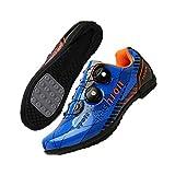 KUXUAN Calzado De Ciclismo De Carretera para Hombre - Calzado De Ciclismo De Carretera para Mujer Taco Transpirable con Hebilla Giratoria,Blue-EU39