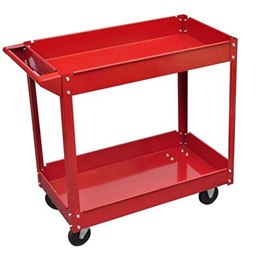 Chariot servante d'atelier charge en acier 100 kg rouge et Taille des pneus : Ø 9,5 cm
