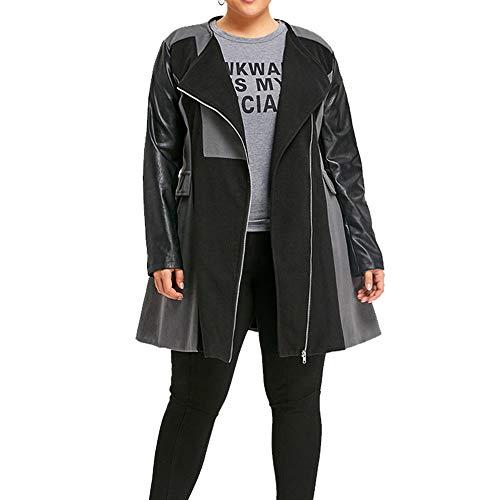 QingJiu Winter Damen Mantel Wolle Lederjacke Patchwork Jacke Lange Warme Reißverschluss Outwear
