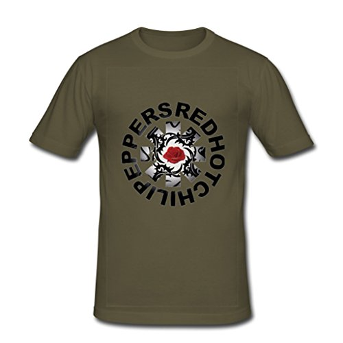 JIUDUIDODO Hombres de manga corta para cuello redondo algodón Red Hot Chili Peppers camiseta