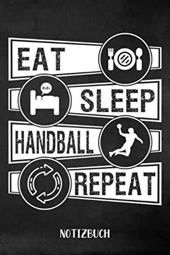 Notizbuch: Handball Notizbuch | 75 leere linierte Seiten| Geschenk für Handballer| 6x9 Format (15,24 x 22,86 cm)