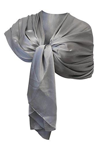 LTP Elegante maxi SCIARPA in Misto Seta Foulard,da Donna Coprispalle Stola in 9 Colori Tinta Unita (argento grigio)