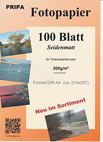 pripa seidenglanz - seidenmatt - satin Fotopapier A4-200g/m² - sofort trocken - wischfest - hochweiß - sehr hohe Farbbrillianz - fuer InkJet - Tintenstrahl - Drucker