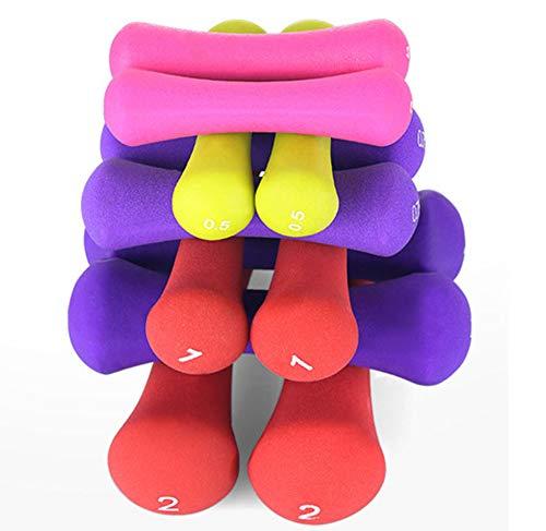 UYIDE Single Ladies Dipping Hanteln, Fitness Yoga Home Hanteln, Farbige Dünne Armknochen Scrub Hanteln, 0,5/1/2/3 Kg,0.5kg