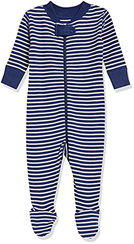 Moon and Back Kid's One Piece Footed Pajama Sleepwear, Navy, 18-24 months