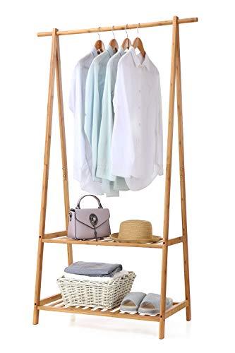 Finnhomy - Perchero de bambú portátil, extragrande, 2 ruedas, caja de almacenamiento para entrada y habitación
