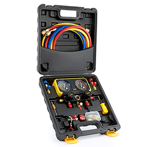ORION MOTOR TECH R410a Gauges, HVAC Manifold Gauge Set for R410a Refrigerant, 3 Way Household AC R410a Manifold Set with R410a R22 Safety Valves, 3 Hoses, R410a Adapters, Universal Can Tap, Black Case