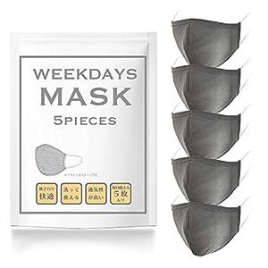 【Amazon.co.jp限定】タオル研究所 [ WEEKDAYS MASK ] マスク グレー 5枚セット 息がしやすい 快適 繰り返し使える 洗える ひんやり スポーツ 男女兼用 Japan Technology フリーサイズ