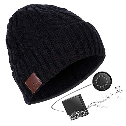 Heitaisi Bluetooth Beanie Hat, V4.2 Wireless Bluetooth Headset Knitted Hat, Unisex Winter Cap with Wireless Headphone Earphone Stereo Speaker for Outdoor Sport Running Skiing Snowboard