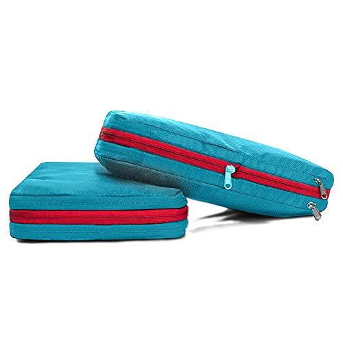 パッキングオーガナイザー アレンジケース トラベルポーチ 圧縮バッグ 大容量 ナイロン 防水 旅行 出張 2点セットスカイブルー