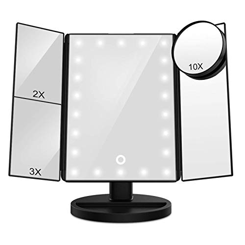 FASCINATE Vanity Mirror with Lights, Trifold Lighted up Makeup Mirror with Magnification -