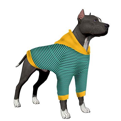 LovinPet Hunde-Pyjama für große Hunde, gestreift, 2 Beine, für große Hunde, Pitbull Shirt, Bulldogge, Large