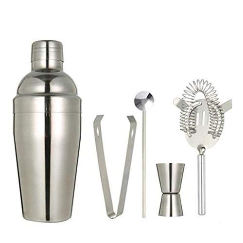 YILIAN 5 unids/Set Cóctel de Acero Inoxidable Coctelero Kettle Bartender Shaker Drink FilterBar Tool Spoon Kit 250ml / 350ml / 550ml / 750ml (Size : 350ml)