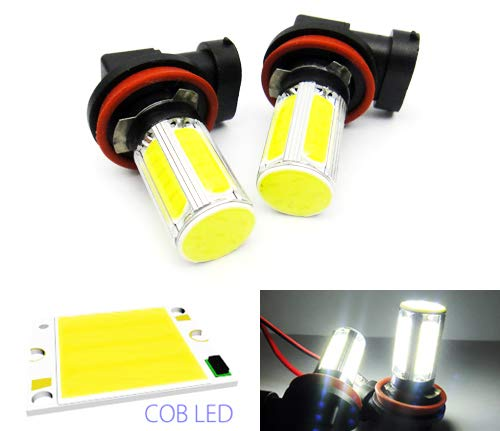 2 x Blanc H11 H8 ampoule LED COB Feu de position latéral Indicateur de circulation diurnes DRL lampe de brouillard