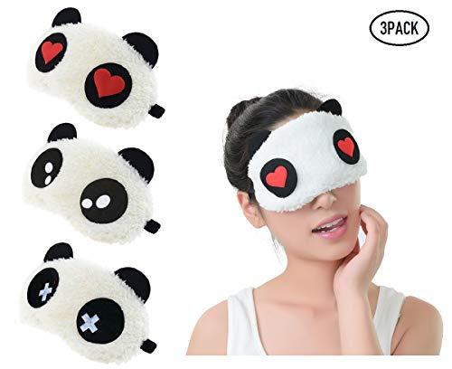 Fontee® 3 Stück Schlafmasken Süß Panda Sleeping Mask Augenmaske Weich Flauschige Augenklappe Blindfold Reise Eye Mask für Kinder und Erwachsene