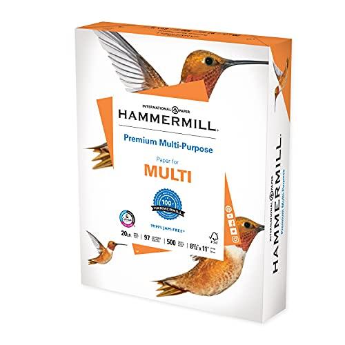 Hammermill Printer Paper, Premium Multipurpose Paper 20 lb, 8.5 x 11 - 1 Ream (500 Sheets) - 97 Bright, Made in the USA