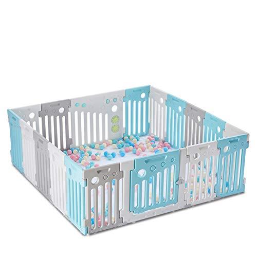 LONTEK Parque Infantil Bebé Plegable con Seguridad, Corralito Bebé con Puerta y Pelotas para Niños de 0 a 6 Años, Interior y Exterior, con 18 Paneles (16+2)