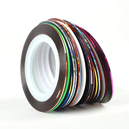 30pcs Entrelacement ligne Tape Nail Art Décoration Sticker bricolage Nail Stickers Color Mix Rolls