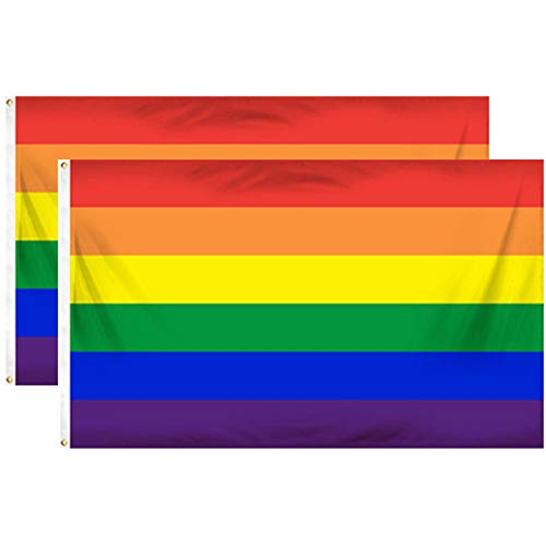 Xinlie Gay Pride Flagge Homosexuell Gay Pride Flagge Banner Regenbogenfahne Rainbow Flag Gay Festival Banners Pride Flag Flags Pride Rainbows Flag Gay Flagge LGBT Flagge für die Schwulenparade(2Stück)