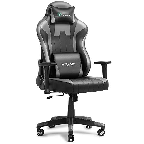 YITAHOME Big and Tall Gaming Chair Video Racing Style for Game Recreation Room, Ergonomic Design, Adjustable Recliner with Soft Headrest Massage Lumbar Support, Grey