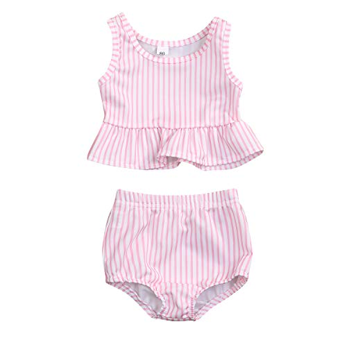 YOUNGER TREE Toddler Baby Girls Summer Swimsuit Sleeveless Striped Swimwear Two-Piece Suit Beach Bikini (Pink, 18-24 Months)