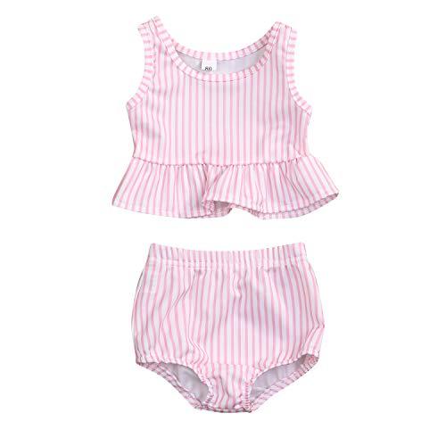 YOUNGER TREE Toddler Baby Girls Summer Swimsuit Sleeveless Striped Swimwear Two-Piece Suit Beach Bikini (Pink, 12-18 Months)