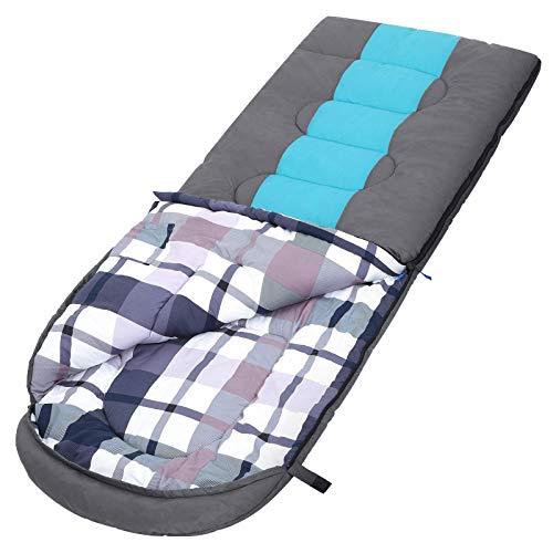 SONGMICS Schlafsack mit Kompressionsbeutel, breiter Deckenschlafsack, Komforttemperatur 5-15°C, für 3-4 Jahreszeiten, leicht zu transportieren, Camping, Wandern, 220 x 84 cm
