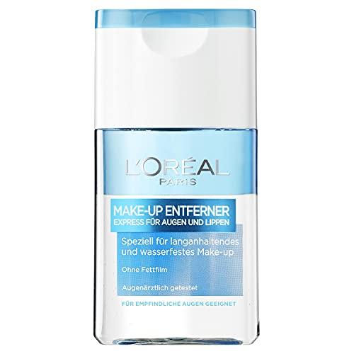 L'Oréal Paris Make-Up Entferner, Gesichtsreinigung speziell für langanhaltendes und wasserfestes Augen- und Lippen Make-up, Für empfindliche Augen geeignet, 1 x 125ml