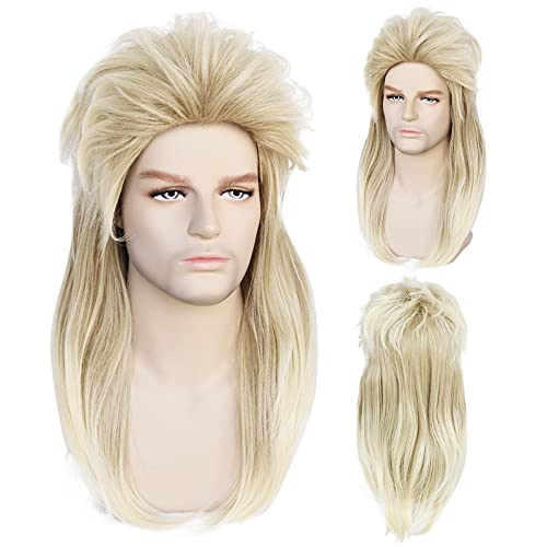 JoneTing Blonde 80s Rock Style Mullet Cosplay wig Synthetic Long Natural Wavy Wigs for Man and Woman