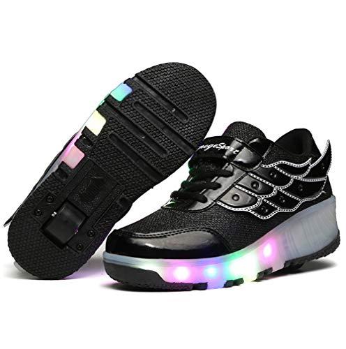 Charmstep Kinder Junge Mädchen LED Farbwechsel Lichter Blinken Schuhe mit Rollen Skateboard Rollschuhe Sport Outdoorschuhe Gymnastikschuhe Flügel-Art Sneaker,Black,29EU